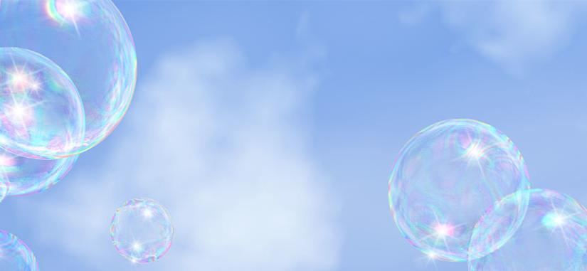 Bubbles against a blue sky