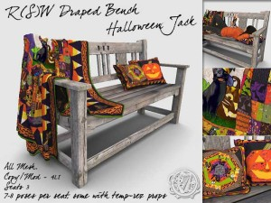 Halloween Jack Cat - Draped Bench