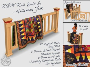 Halloween Jack Cat quilt on Rail, for SL Marketplace