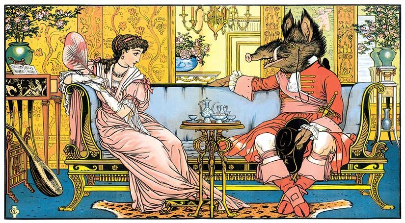 Old illustration of Beauty and the Beast