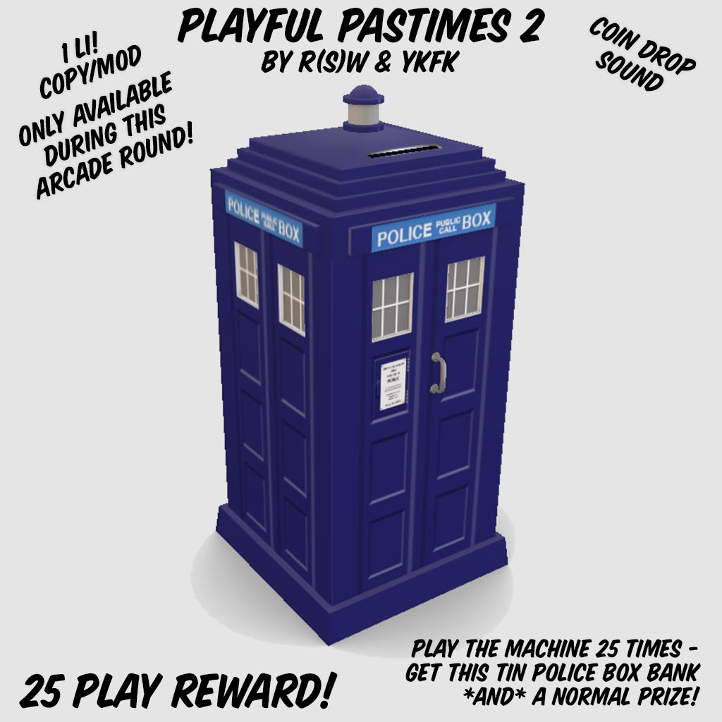 Tin Police Box Bank - Reward for playing the gacha machine 25 times